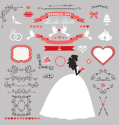 Wedding bridal shower decor set bride invitation vector
