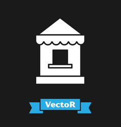 White ticket box office icon isolated on black vector