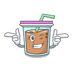 Wink bubble tea character cartoon vector