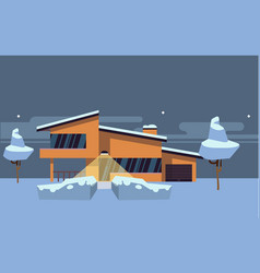 Winter country house flat vector
