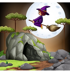 Witch flying over the cave vector image