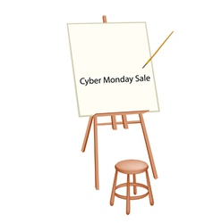 Wooden Artist Easel With Word Cyber Monday Sale vector
