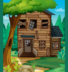 wooden house with bad condition in jungle vector image