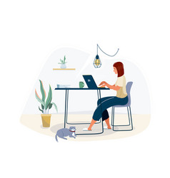 work at home concept design freelance woman vector image