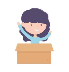 young woman with cardboard box charity and vector image