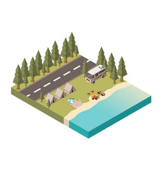 camp isometric design vector image vector image
