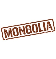 Mongolia brown square stamp vector image vector image