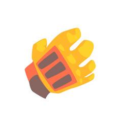 orange goalkeeper glove cartoon vector image vector image