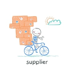 supplier supplier rides a bike with the goods vector image
