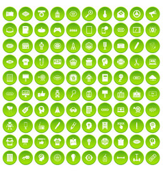100 creative marketing icons set green circle vector image