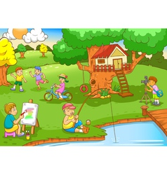 children playing under tree house vector image vector image