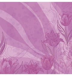 Flowers tulips on abstract background vector image