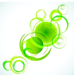Green abstract background with grunge circles vector image