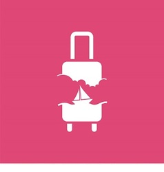 logo with suitcase sky and sailing ship vector image