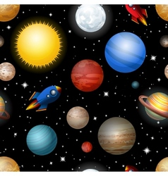 seamless pattern with planets and rockets vector image vector image