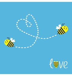 Two flying bees Dash heart in the sky Card vector image