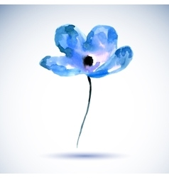 Watercolor of a a blue flower on a vector image vector image