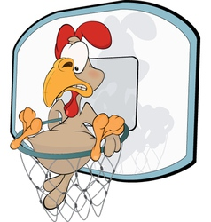 Cockerel the basketball player Cartoon vector image vector image