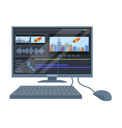 computer with keyboardmaking movie single icon in vector image