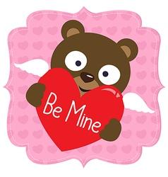 Cute Valentine bear vector image vector image