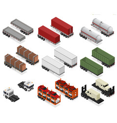 different types trailers 3d icons set isometric vector image