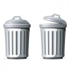 metal trash can vector image