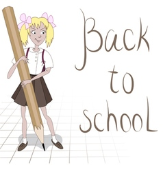 Student girl with great pencil vector image vector image