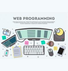 web programming top view banner vector image