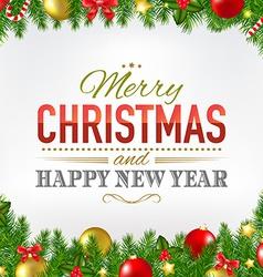 Christmas Card With Fir Tree Borders vector image vector image