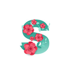 color letter s with beautiful flowers vector image