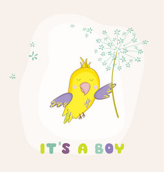 cute parrot flying with a flower baby shower card vector image
