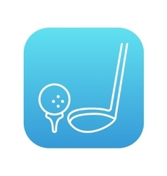 Golf ball and putter line icon vector image vector image