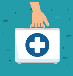 hand with medical kit isolated icon vector image