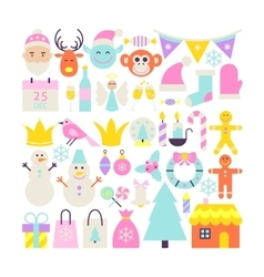 Merry Christmas Cute Objects vector image vector image