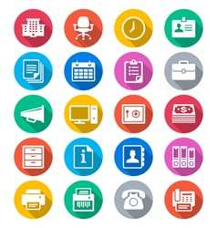 Office supplies flat color icons vector image vector image