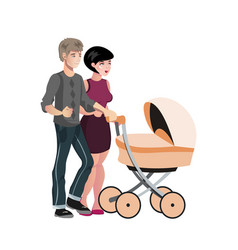 young family with baby in stroller vector image vector image