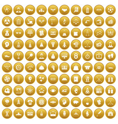 100 success icons set gold vector