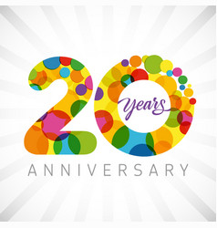20 years bubbles ribbon colorful logo vector image