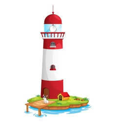 A dog in the lighthouse vector image