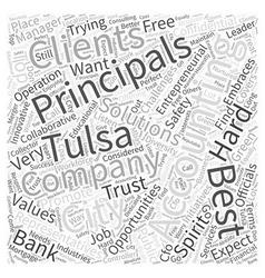 Accounting principals and tulsa word cloud concept vector