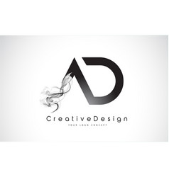 ad letter logo design with black smoke vector image