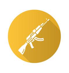 Akm weapon flat design long shadow glyph icon vector
