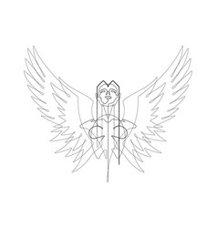 angel one continuous line graphic vector image