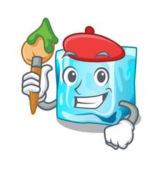 Artist ice cubes shape on the cartoon vector