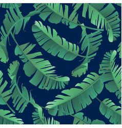 Banana palm leaves seamless tropic pattern vector