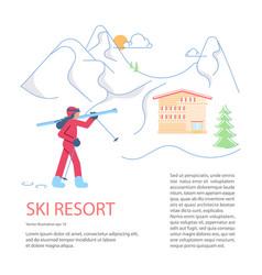 banner template for mountain ski resort vector image