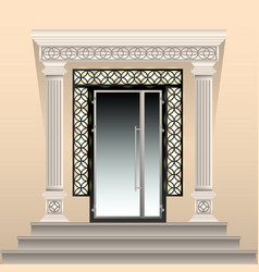 beautifully decorated entrance to the building vector image