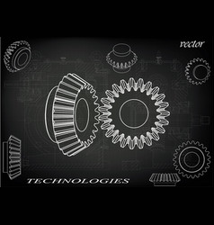 Bevel gear on a black background vector