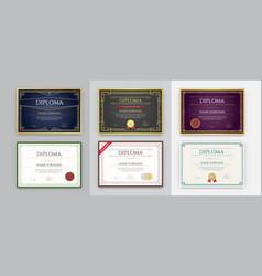Big set 9 diploma or certificate design vector