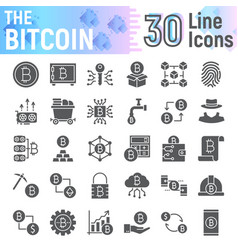 bitcoin glyph icon set cryptocurrency symbols vector image